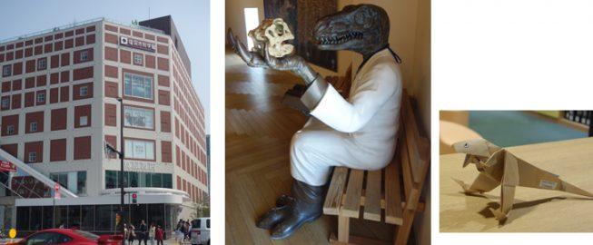 会場となった福岡市科学館は、昨年オープンしたばかり。ちょうど特別展として「恐竜展」を行っていたせいか、館内のあちこちに「恐竜」がいました。